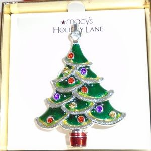 Macy's Holiday Lane Enameled Christmas Tree Brooch